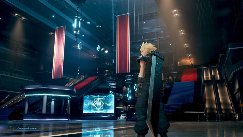 Cloud im ShinRa Gebäude in Final Fantasy VII Remake